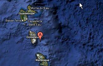 Atlantic plate diving under the Caribbean plate